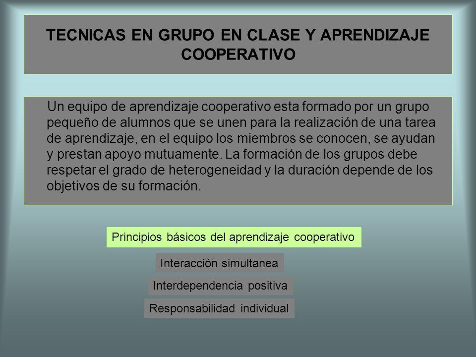 TECNICAS EN GRUPO EN CLASE Y APRENDIZAJE COOPERATIVO