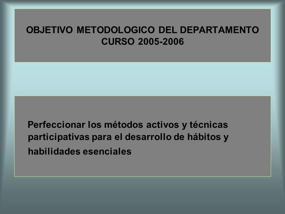 OBJETIVO METODOLOGICO DEL DEPARTAMENTO CURSO 2005-2006