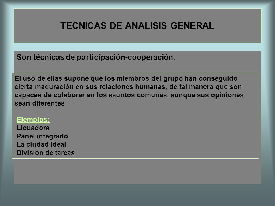 TECNICAS DE ANALISIS GENERAL