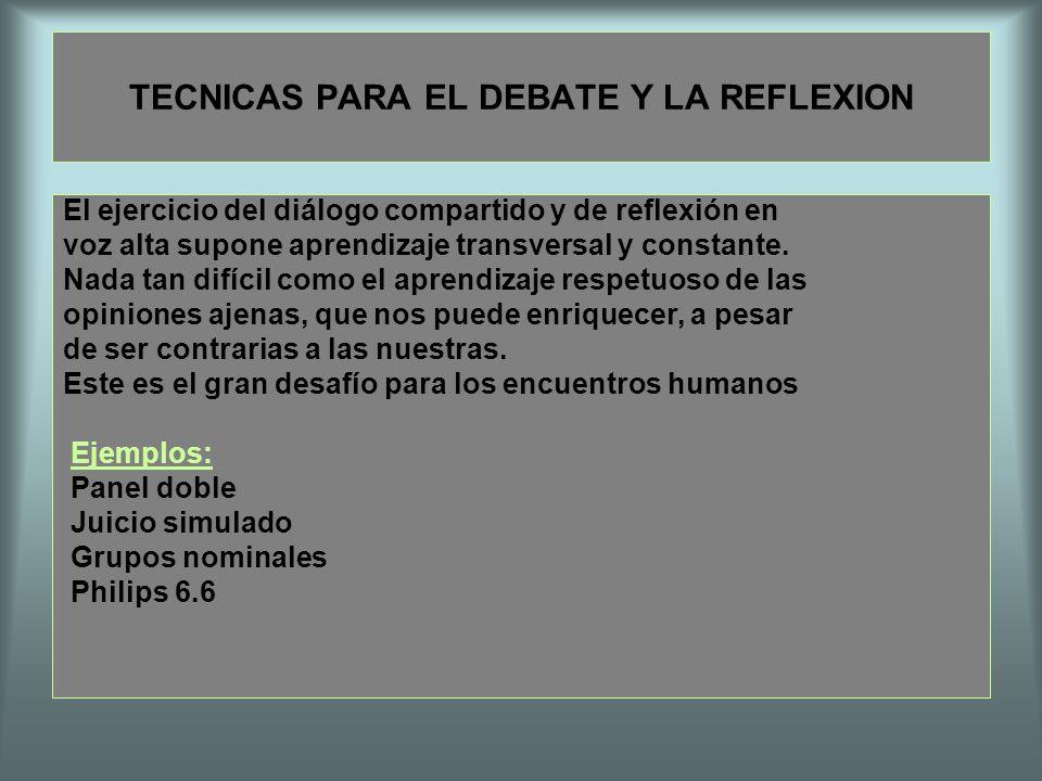 TECNICAS PARA EL DEBATE Y LA REFLEXION