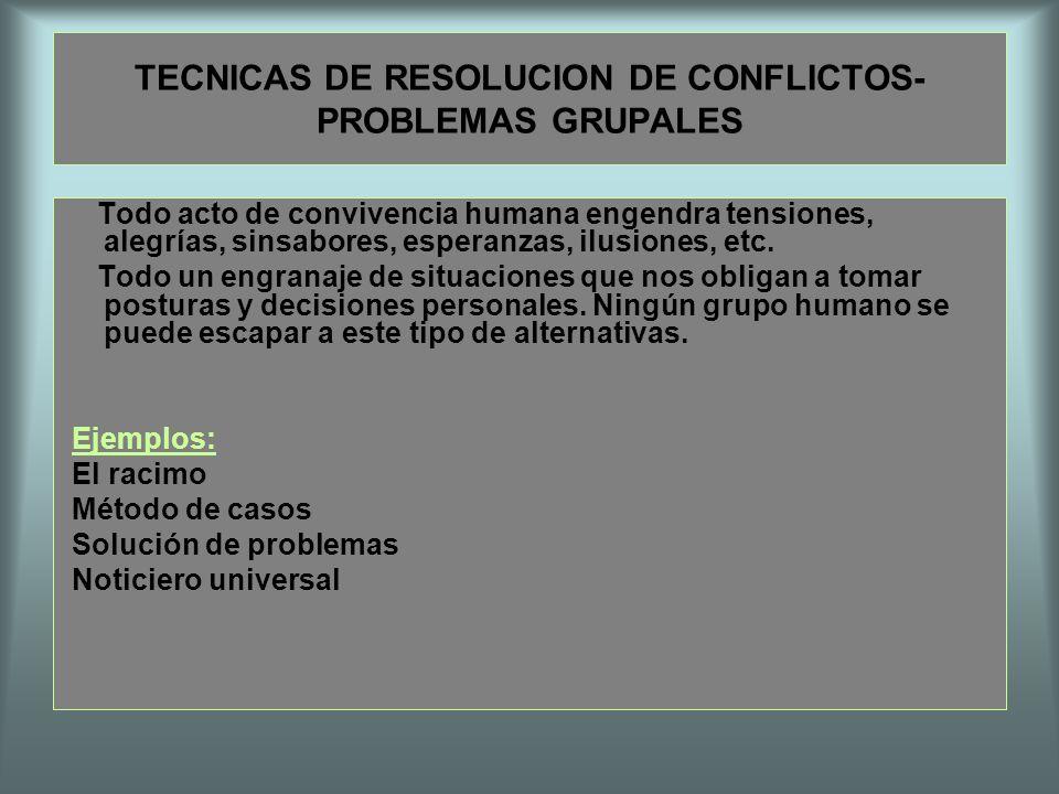 TECNICAS DE RESOLUCION DE CONFLICTOS-PROBLEMAS GRUPALES