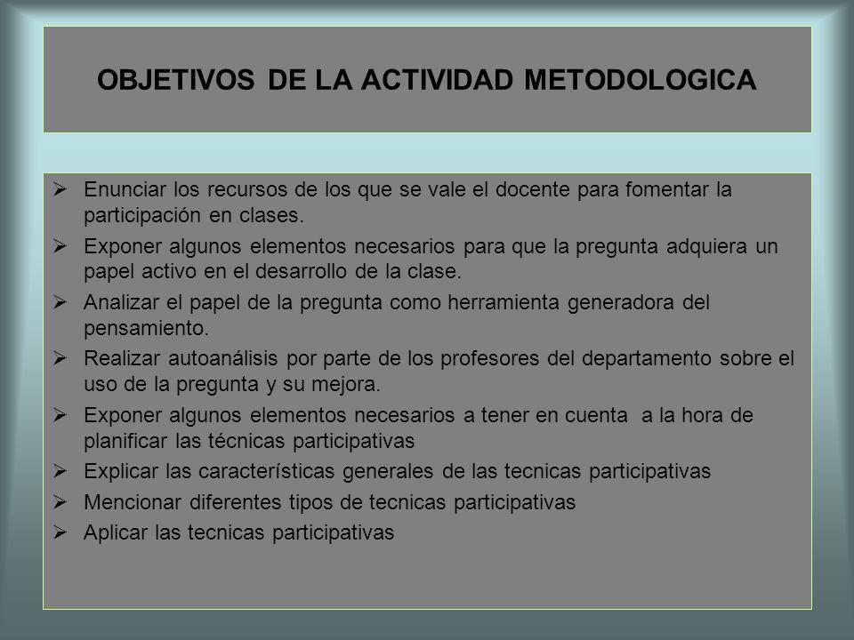 OBJETIVOS DE LA ACTIVIDAD METODOLOGICA