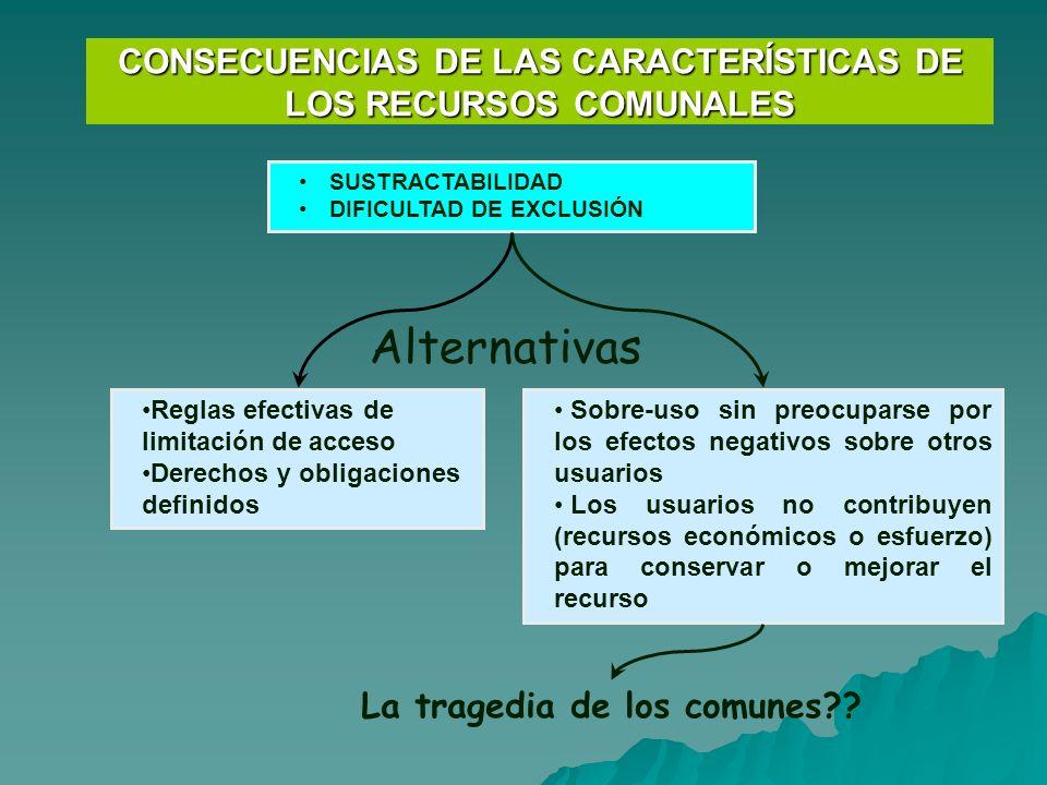 CONSECUENCIAS DE LAS CARACTERÍSTICAS DE LOS RECURSOS COMUNALES