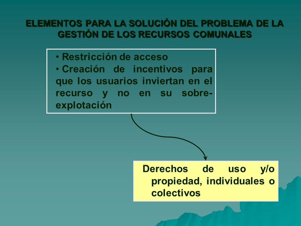 Derechos de uso y/o propiedad, individuales o colectivos