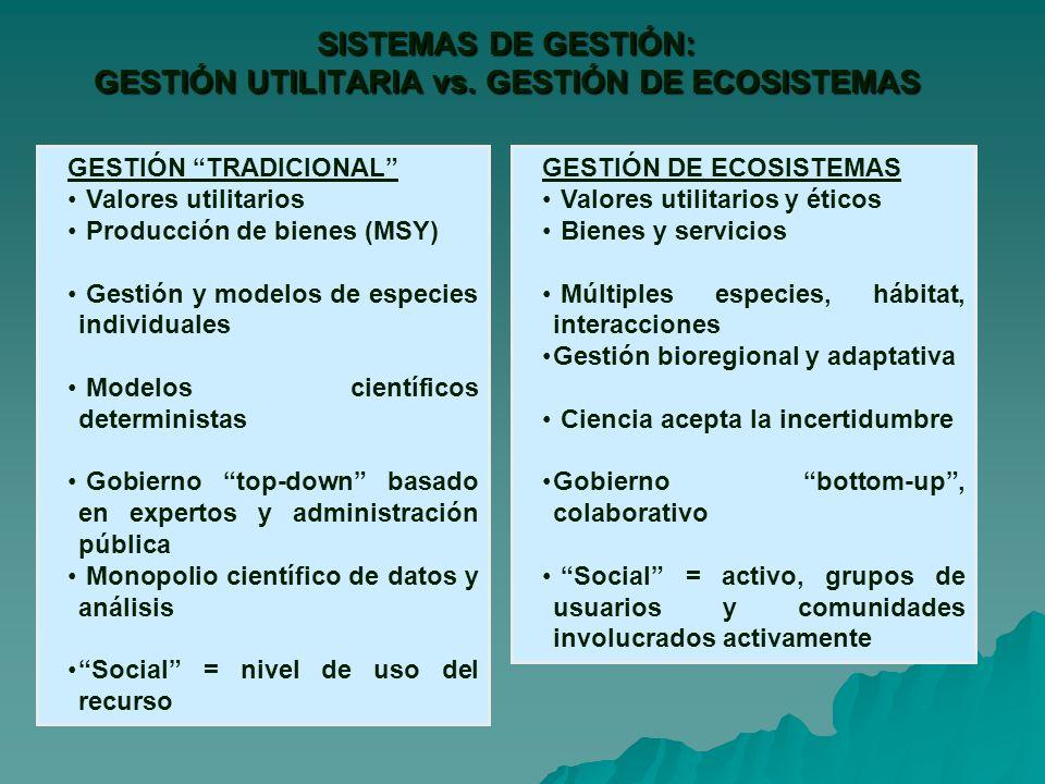 SISTEMAS DE GESTIÓN: GESTIÓN UTILITARIA vs. GESTIÓN DE ECOSISTEMAS
