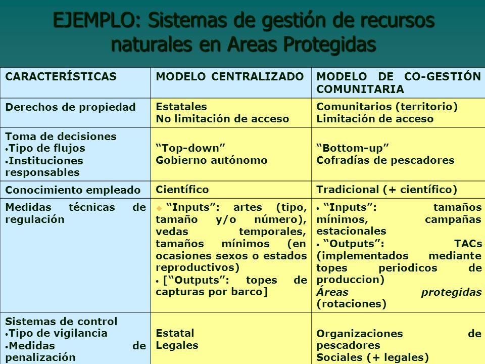 EJEMPLO: Sistemas de gestión de recursos naturales en Areas Protegidas
