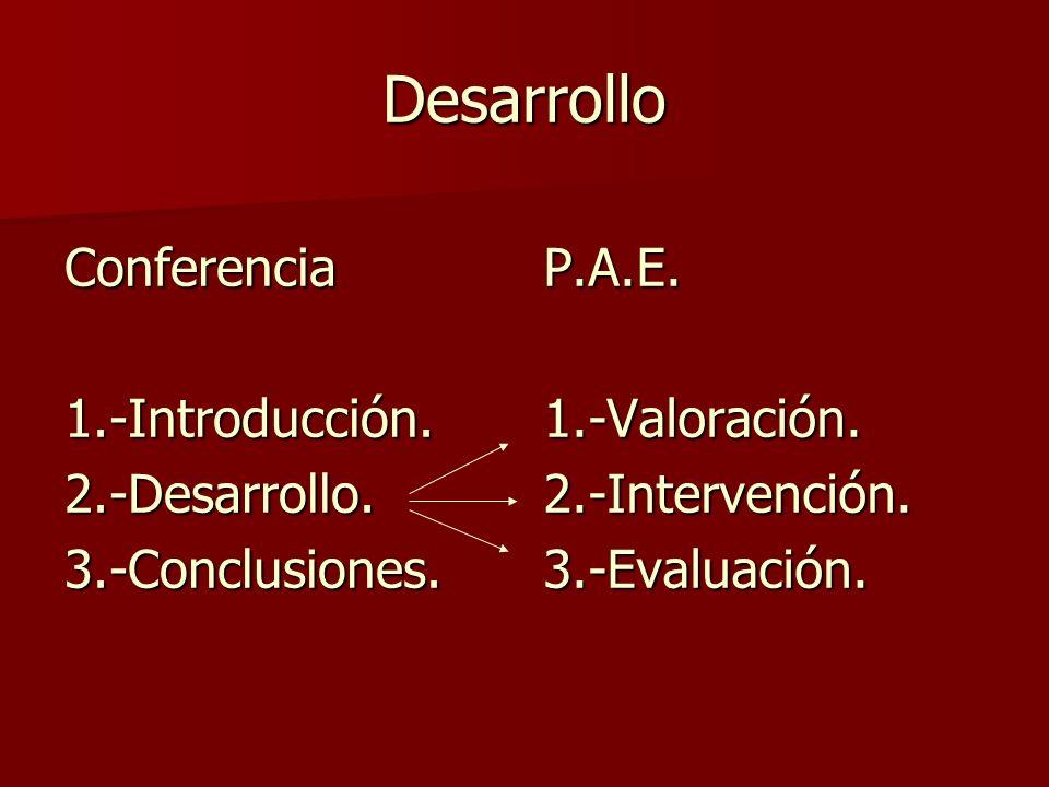 Desarrollo Conferencia 1.-Introducción. 2.-Desarrollo.