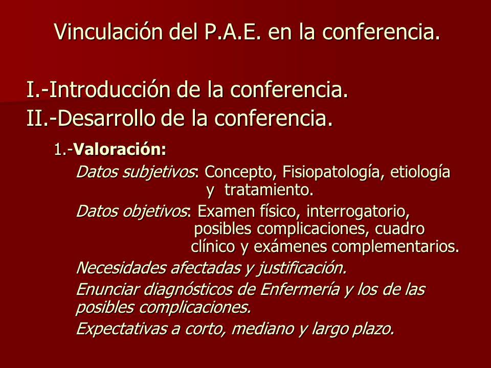 Vinculación del P.A.E. en la conferencia.
