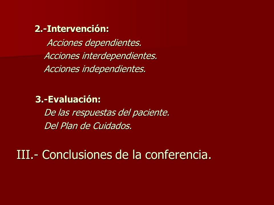 III.- Conclusiones de la conferencia.