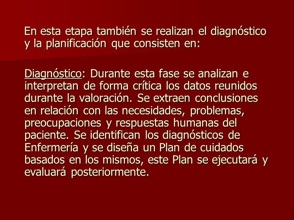 En esta etapa también se realizan el diagnóstico y la planificación que consisten en: