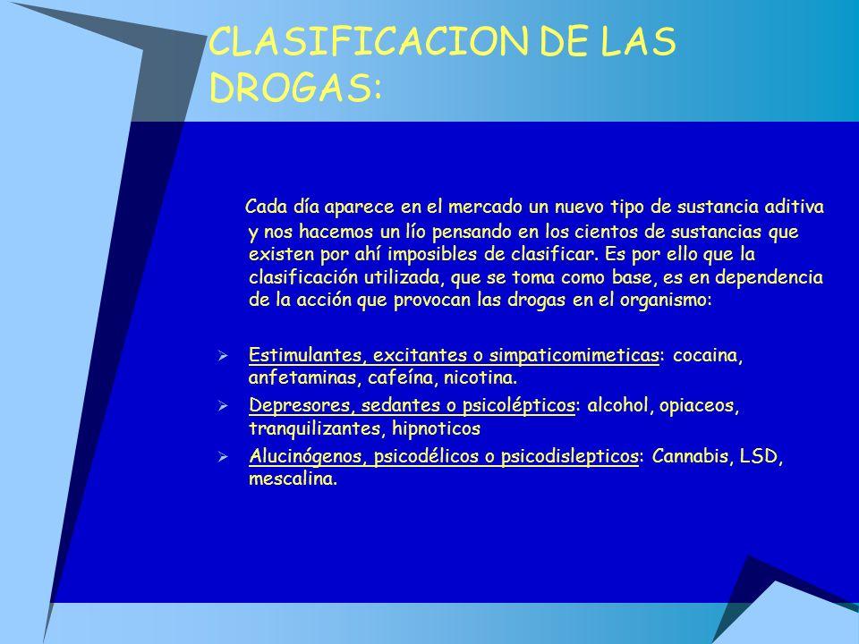 CLASIFICACION DE LAS DROGAS: