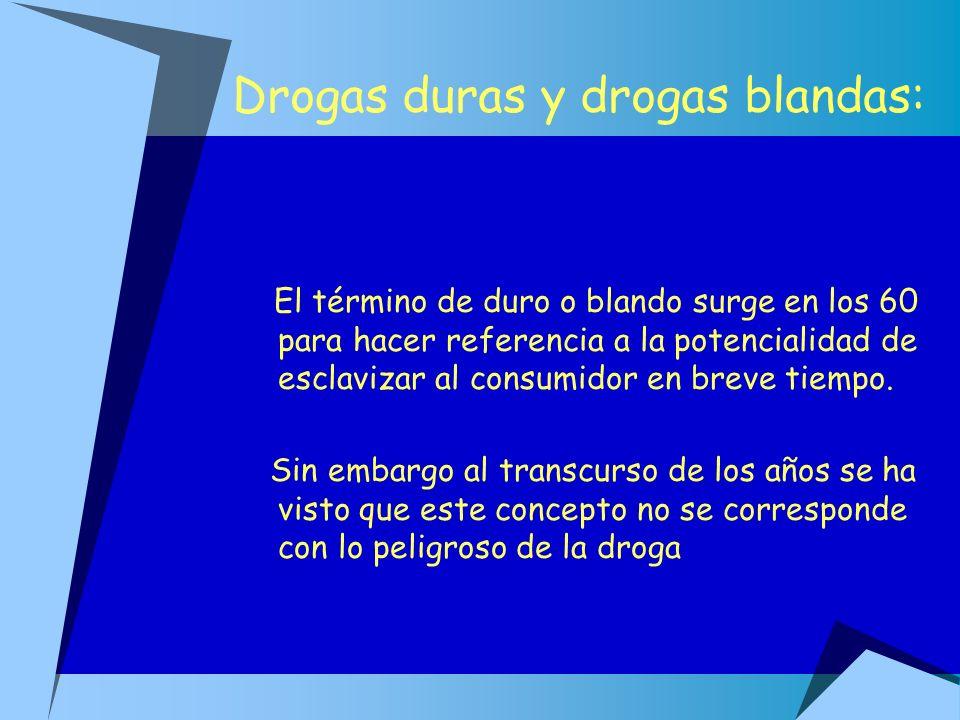Drogas duras y drogas blandas: