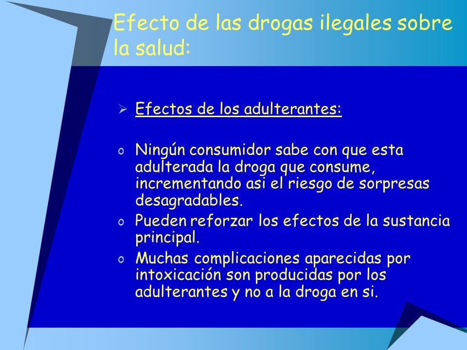 Efecto de las drogas ilegales sobre la salud:
