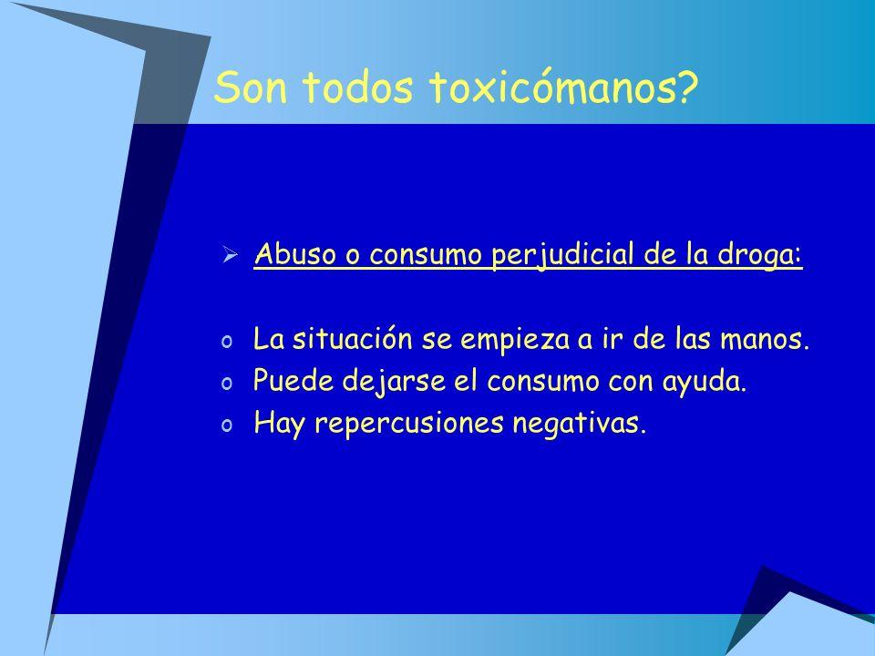 Son todos toxicómanos Abuso o consumo perjudicial de la droga: