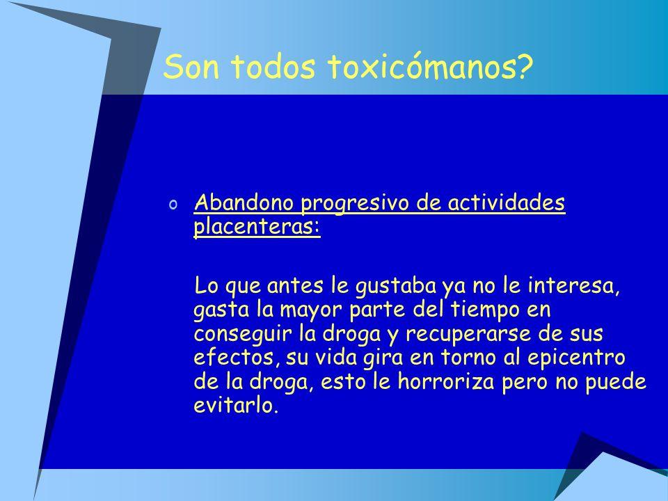 Son todos toxicómanos Abandono progresivo de actividades placenteras: