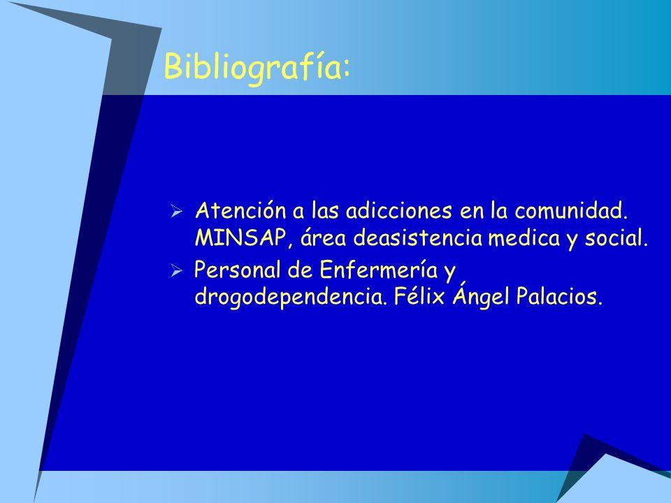 Bibliografía:Atención a las adicciones en la comunidad. MINSAP, área deasistencia medica y social.