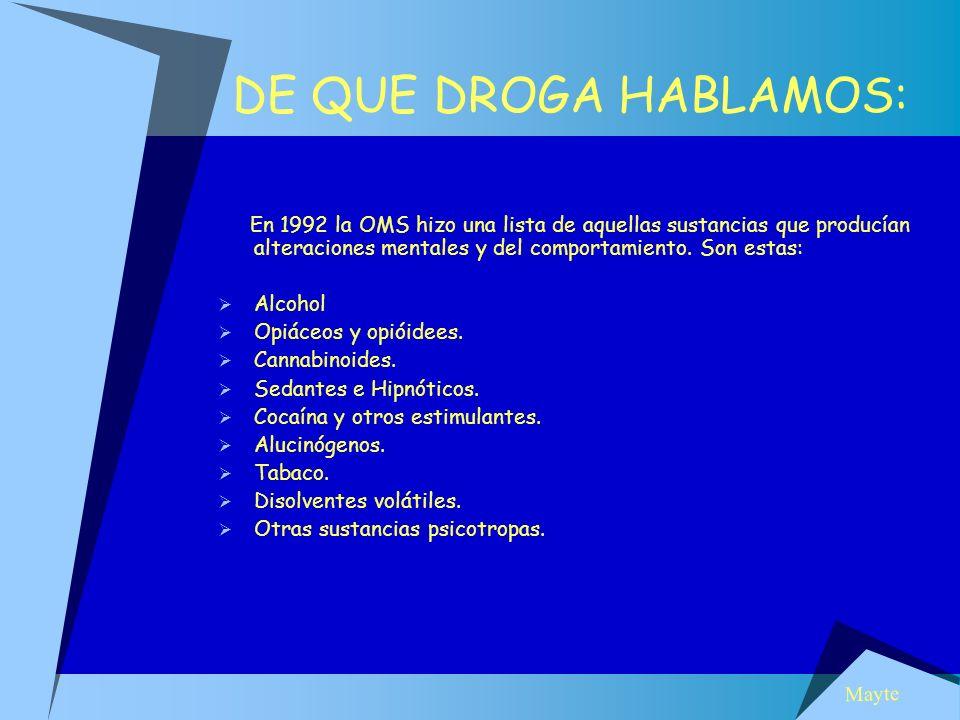 DE QUE DROGA HABLAMOS: En 1992 la OMS hizo una lista de aquellas sustancias que producían alteraciones mentales y del comportamiento. Son estas: