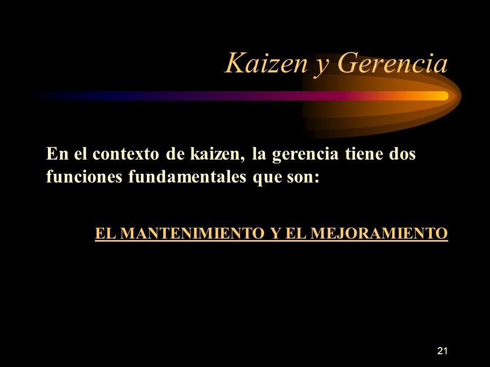 Kaizen y Gerencia En el contexto de kaizen, la gerencia tiene dos funciones fundamentales que son: EL MANTENIMIENTO Y EL MEJORAMIENTO.