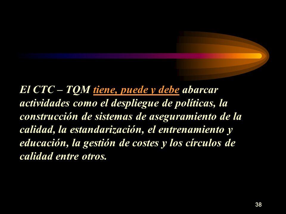 El CTC – TQM tiene, puede y debe abarcar actividades como el despliegue de políticas, la construcción de sistemas de aseguramiento de la calidad, la estandarización, el entrenamiento y educación, la gestión de costes y los círculos de calidad entre otros.