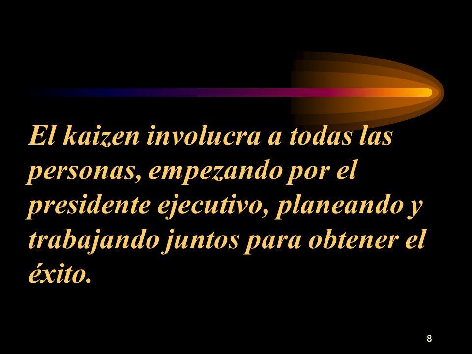 El kaizen involucra a todas las personas, empezando por el presidente ejecutivo, planeando y trabajando juntos para obtener el éxito.