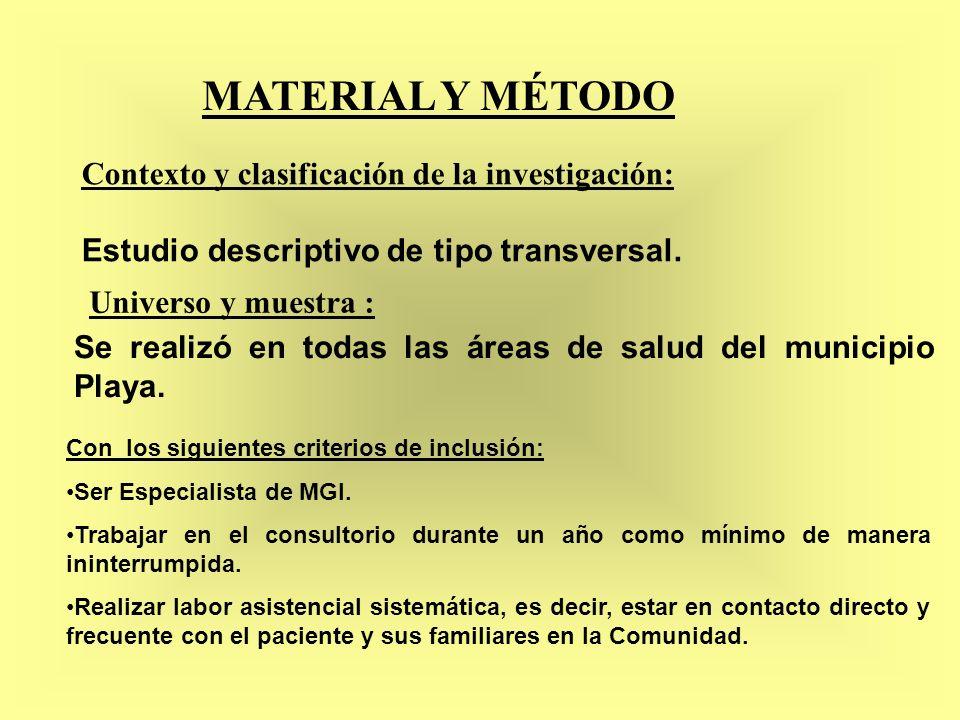 MATERIAL Y MÉTODO Contexto y clasificación de la investigación: