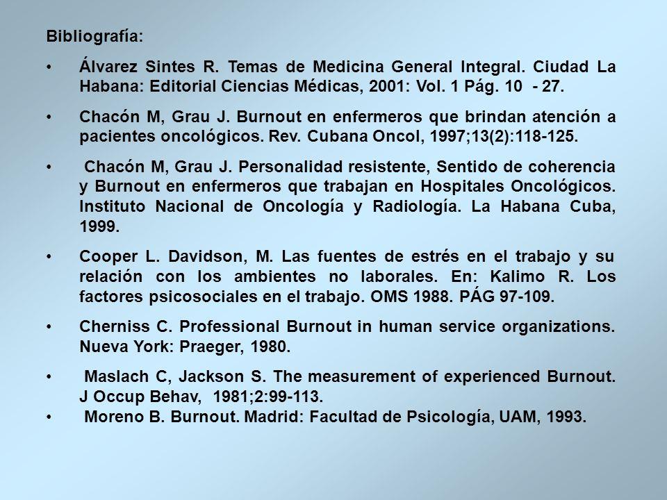 Bibliografía:Álvarez Sintes R. Temas de Medicina General Integral. Ciudad La Habana: Editorial Ciencias Médicas, 2001: Vol. 1 Pág. 10 - 27.