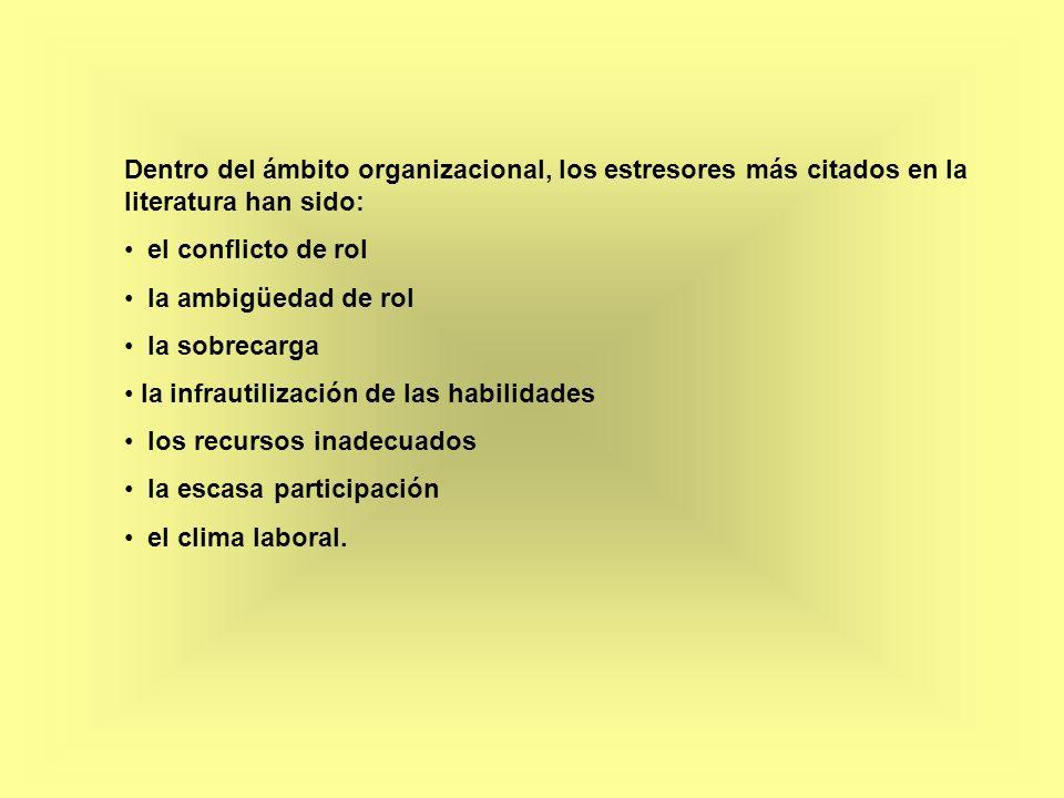 Dentro del ámbito organizacional, los estresores más citados en la literatura han sido: