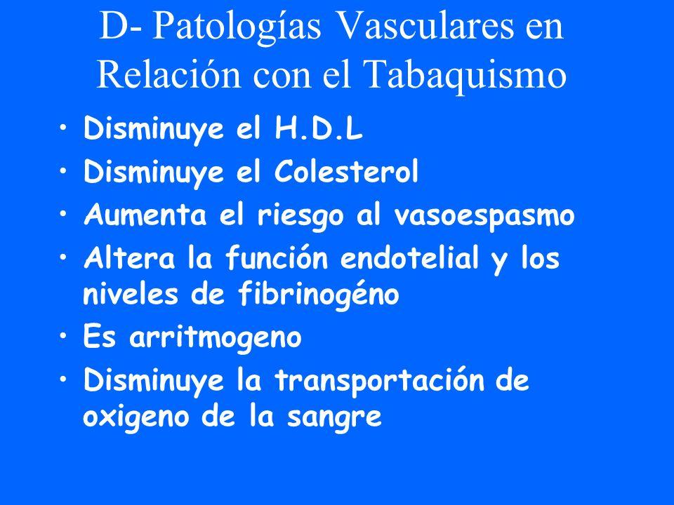 D- Patologías Vasculares en Relación con el Tabaquismo