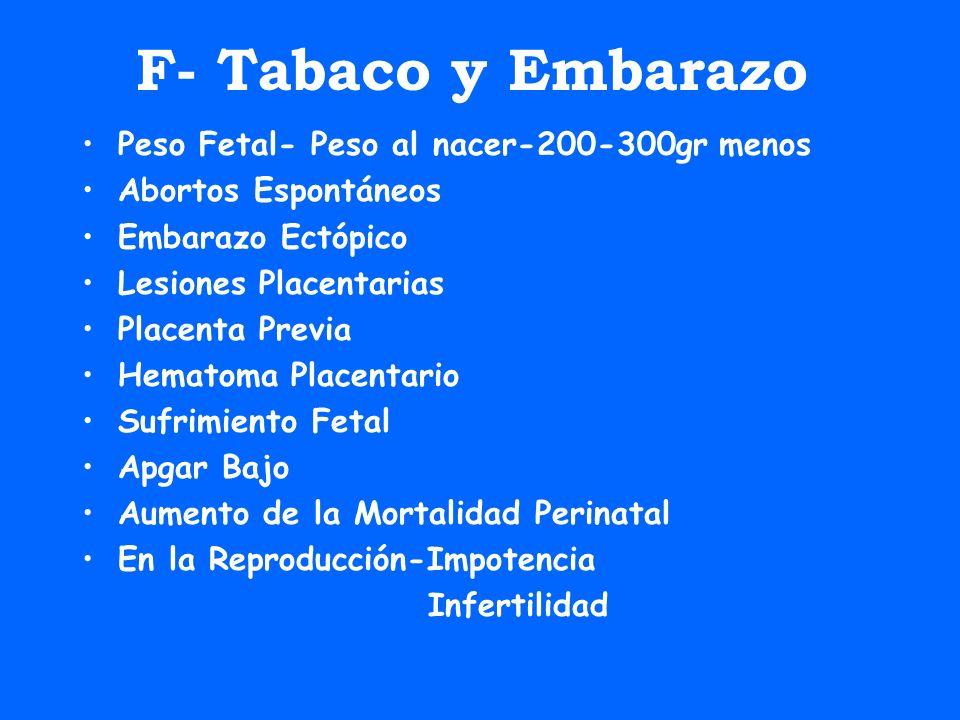 F- Tabaco y Embarazo Peso Fetal- Peso al nacer-200-300gr menos