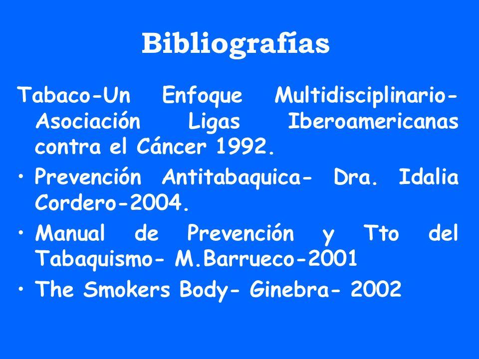 Bibliografías Tabaco-Un Enfoque Multidisciplinario- Asociación Ligas Iberoamericanas contra el Cáncer 1992.