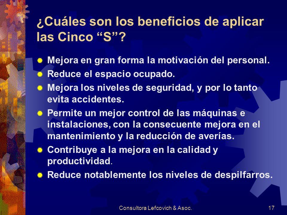 ¿Cuáles son los beneficios de aplicar las Cinco S
