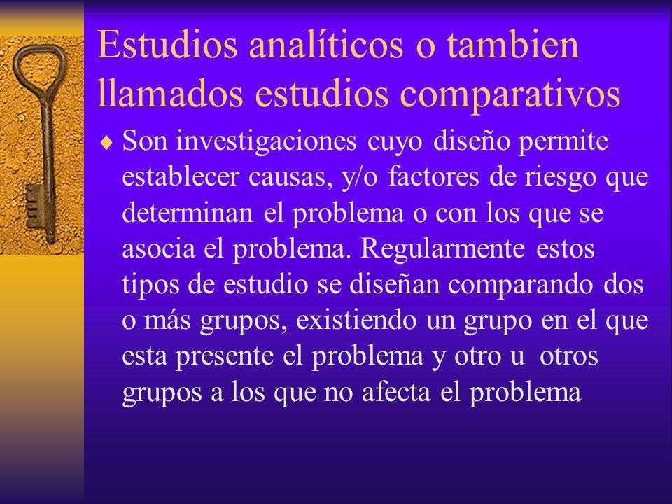 Estudios analíticos o tambien llamados estudios comparativos