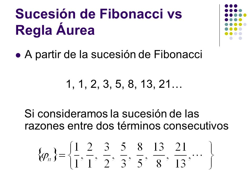 Sucesión de Fibonacci vs Regla Áurea