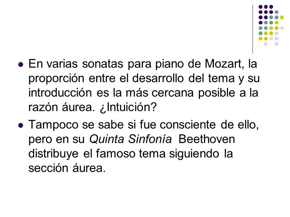 En varias sonatas para piano de Mozart, la proporción entre el desarrollo del tema y su introducción es la más cercana posible a la razón áurea. ¿Intuición