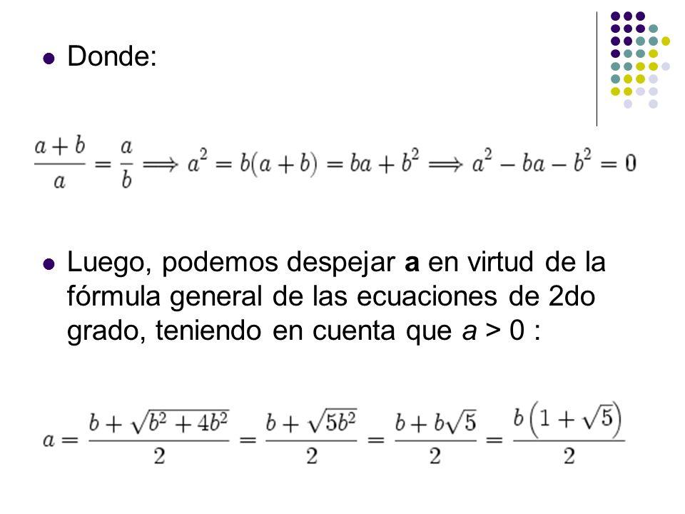 Donde: Luego, podemos despejar a en virtud de la fórmula general de las ecuaciones de 2do grado, teniendo en cuenta que a > 0 :