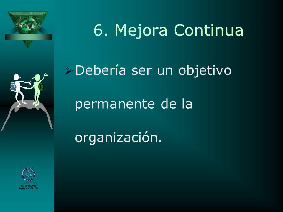6. Mejora Continua Debería ser un objetivo permanente de la organización. Beneficios:
