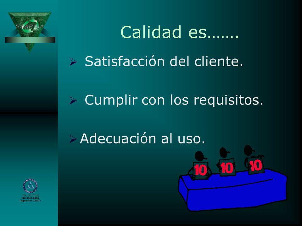 Calidad es……. Satisfacción del cliente. Cumplir con los requisitos.