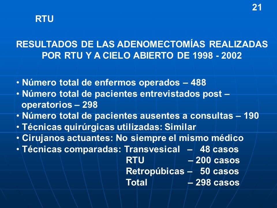 21 RESULTADOS DE LAS ADENOMECTOMÍAS REALIZADAS POR RTU Y A CIELO ABIERTO DE 1998 - 2002. RTU. Número total de enfermos operados – 488.