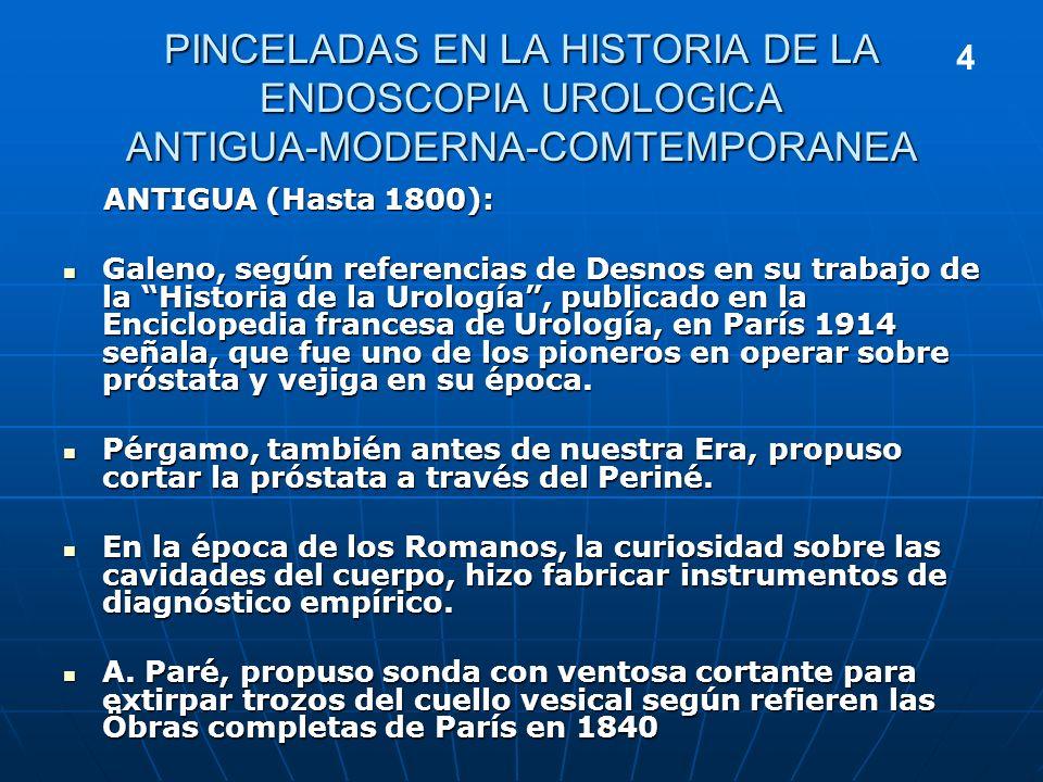PINCELADAS EN LA HISTORIA DE LA ENDOSCOPIA UROLOGICA ANTIGUA-MODERNA-COMTEMPORANEA
