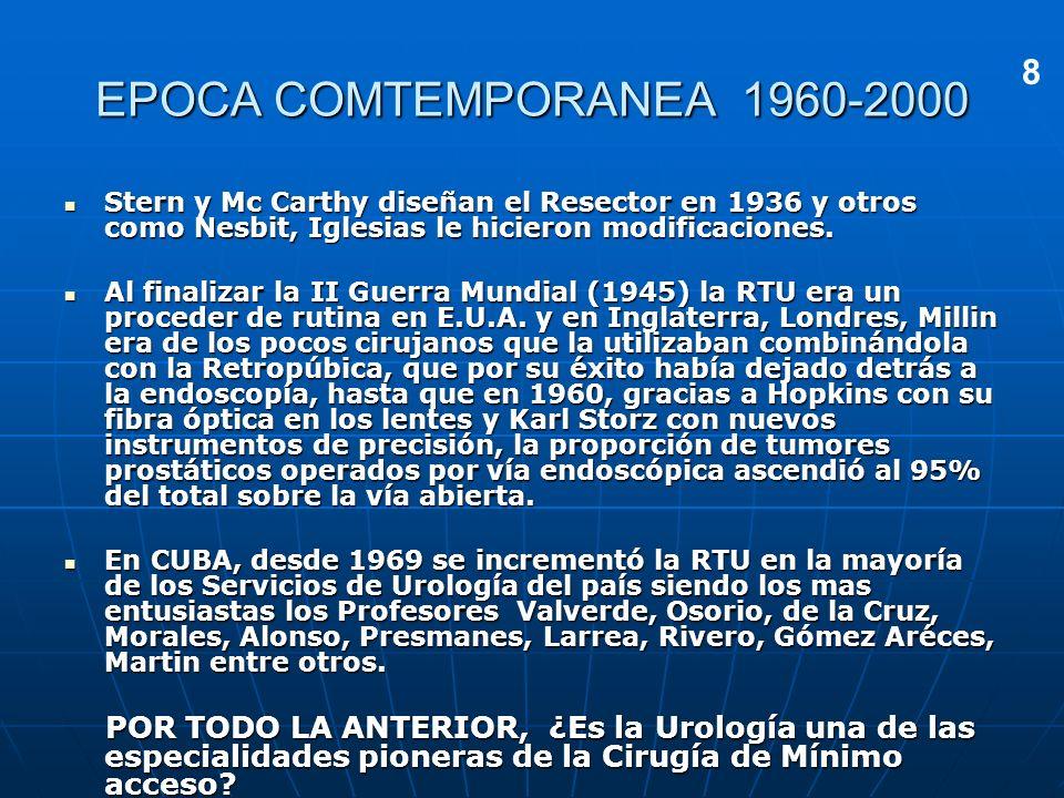 EPOCA COMTEMPORANEA 1960-20008. Stern y Mc Carthy diseñan el Resector en 1936 y otros como Nesbit, Iglesias le hicieron modificaciones.