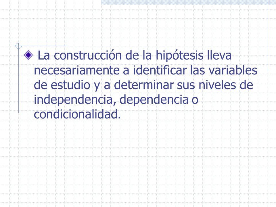 La construcción de la hipótesis lleva necesariamente a identificar las variables de estudio y a determinar sus niveles de independencia, dependencia o condicionalidad.