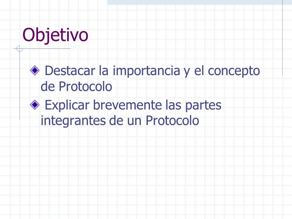 Objetivo Destacar la importancia y el concepto de Protocolo