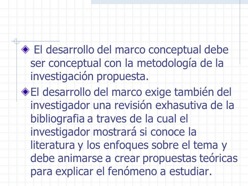 El desarrollo del marco conceptual debe ser conceptual con la metodología de la investigación propuesta.