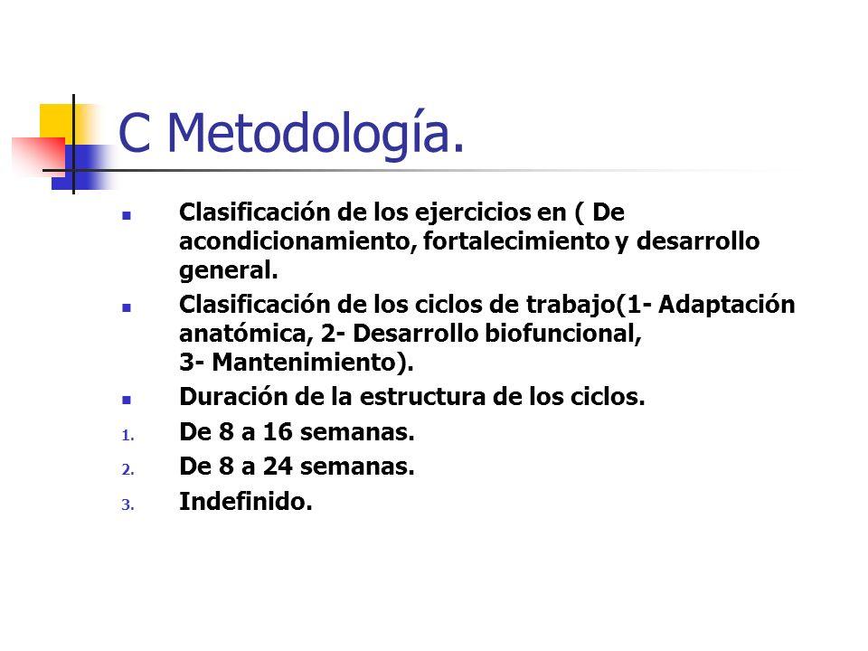 C Metodología. Clasificación de los ejercicios en ( De acondicionamiento, fortalecimiento y desarrollo general.