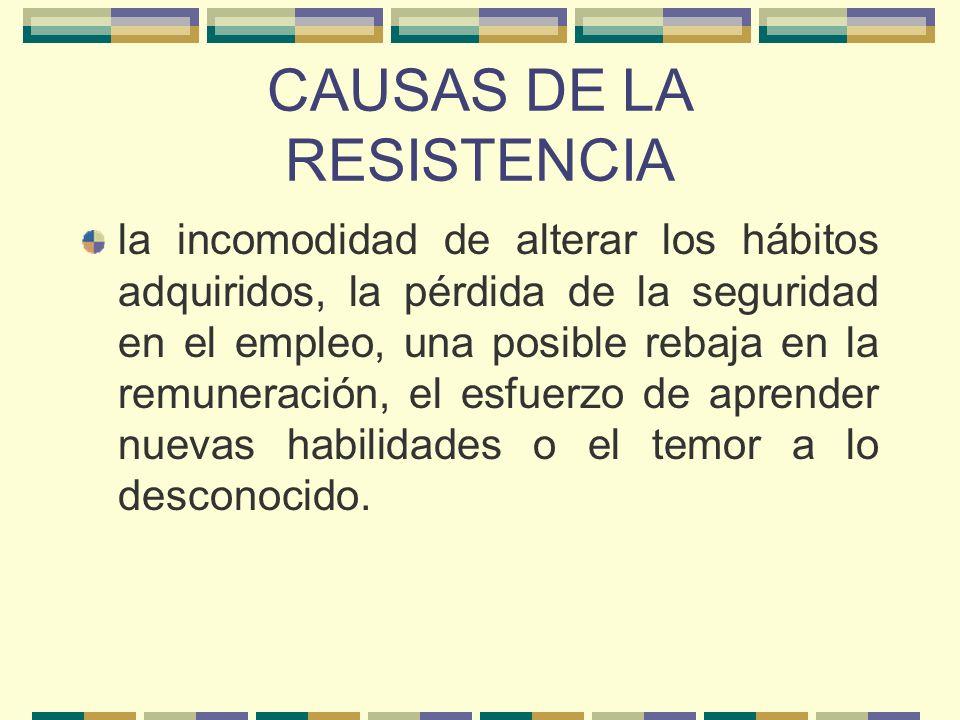 CAUSAS DE LA RESISTENCIA