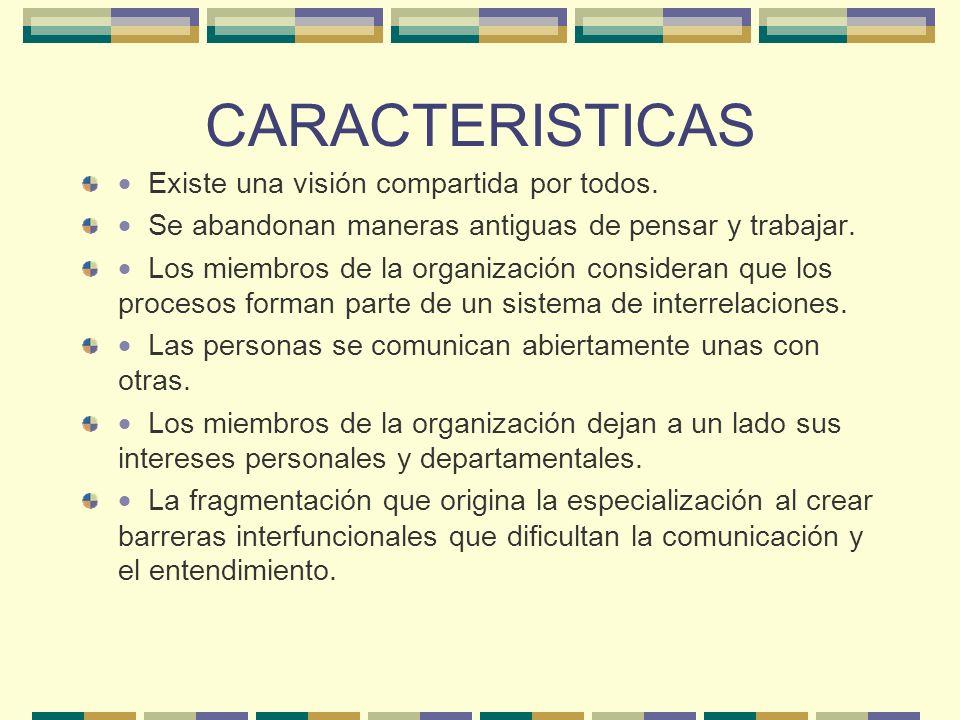 CARACTERISTICAS · Existe una visión compartida por todos.