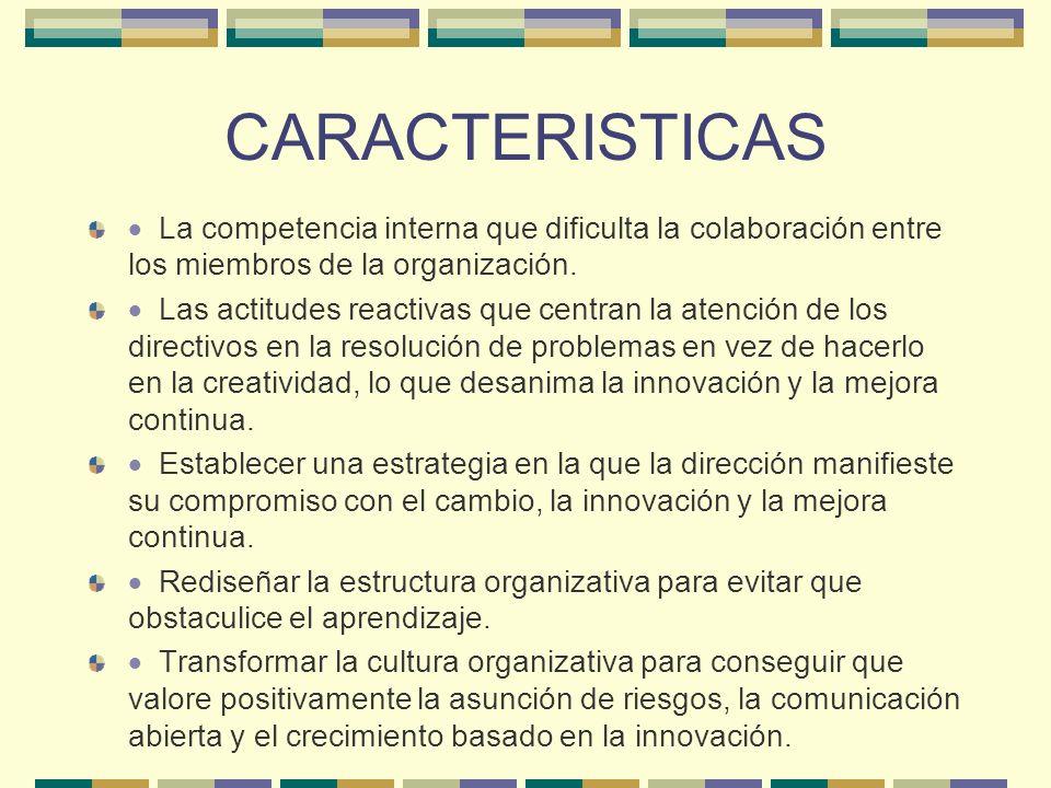 CARACTERISTICAS · La competencia interna que dificulta la colaboración entre los miembros de la organización.