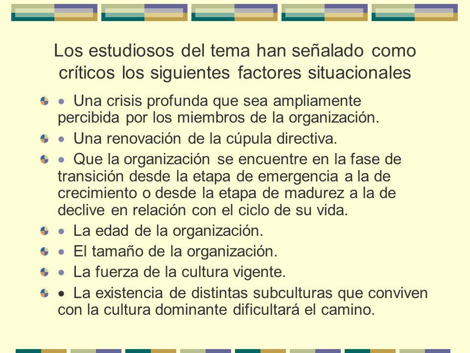 Los estudiosos del tema han señalado como críticos los siguientes factores situacionales