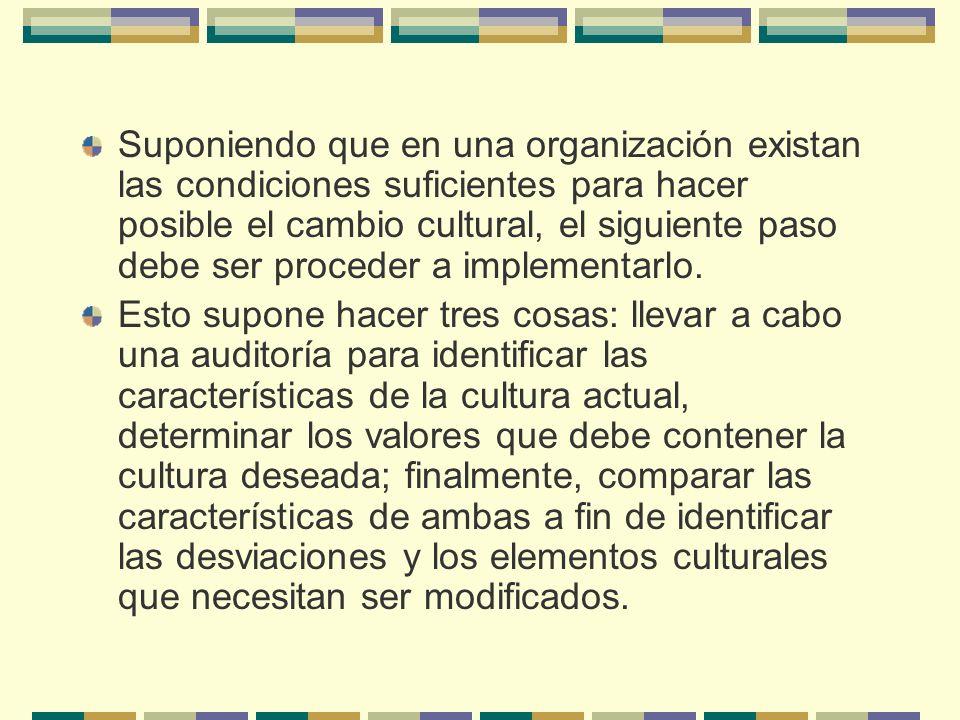 Suponiendo que en una organización existan las condiciones suficientes para hacer posible el cambio cultural, el siguiente paso debe ser proceder a implementarlo.