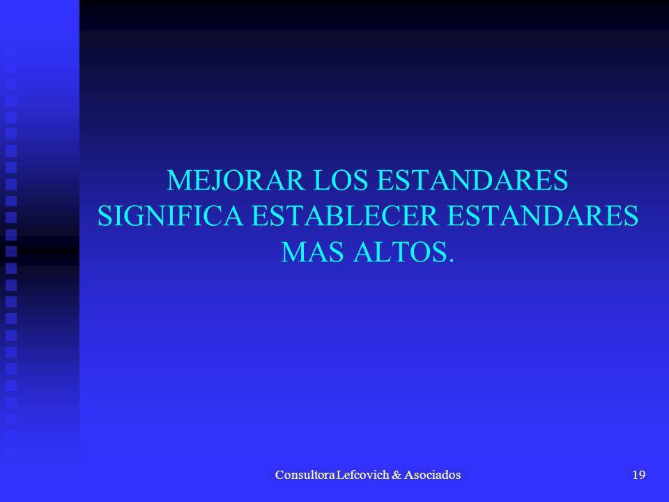 MEJORAR LOS ESTANDARES SIGNIFICA ESTABLECER ESTANDARES MAS ALTOS.